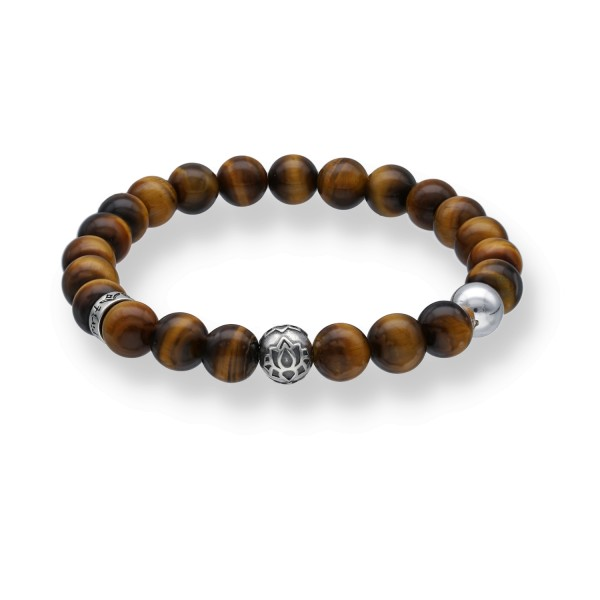 Spiritbeads Beadsarmband Tigerauge Lotus
